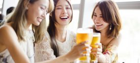 Chinese ladies drinking beer
